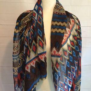 Aztec print oblong scarf